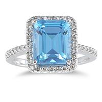 Blue Topaz Ring with Diamonds in 14K White Gold