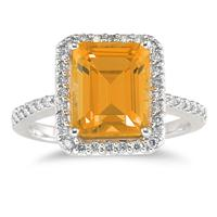 Emerald Cut Citrine and Diamond Ring 14K White Gold
