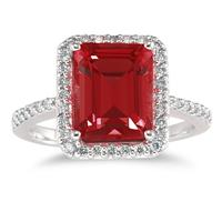Emerald Cut Garnet and Diamond Ring 14K White Gold