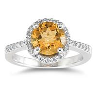 Citrine and Diamond Ring in 14K White Gold