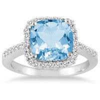 Cushion Cut Blue Topaz and Diamond Ring 14K White Gold