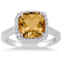 Cushion Cut Citrine and Diamond Ring 14K White Gold