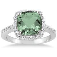 Cushion Cut Green Amethyst and Diamond Ring 14K White Gold