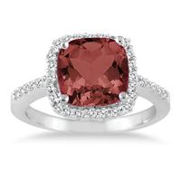 Cushion Cut Garnet and Diamond Ring 14K White Gold