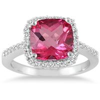 Cushion Cut Pink Topaz and Diamond Ring 14K White Gold
