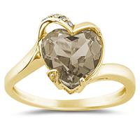 Heart Shaped Smokey Quartz and Diamond Curve Ring in 14K Yellow Gold