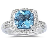 2.50ct Cushion Cut Blue Topaz & Diamond Ring in 14K White Gold