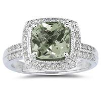 2.50ct Cushion Cut  Green Amethyst  & Diamond Ring in 14K White Gold