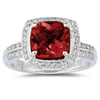 2.50ct Cushion Cut  Garnet   & Diamond Ring in 14K White Gold