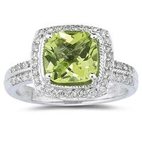 2.50ct Cushion Cut Peridot  & Diamond Ring in 14K White Gold