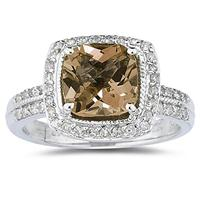 2.50ct Cushion Cut   Smokey Quartz   & Diamond Ring in 14K White Gold
