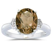 4.50 Carat Smokey Quartz & Diamond Ring in White Gold