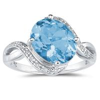Oval Shaped   Blue Topaz  and Diamond Curve Ring in 10K White Gold