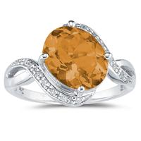 Oval Shaped    Citrine  and Diamond Curve Ring in 10K White Gold