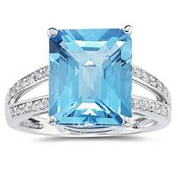Emerald  Cut Blue Topaz and Diamond Ring 10k White Gold
