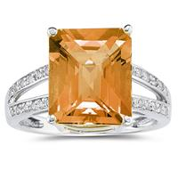 Emerald  Cut Citrine and Diamond Ring 10k White Gold