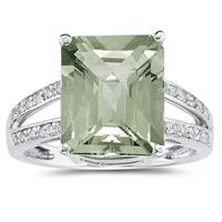 Emerald  Cut Green  Amethyst  and Diamond Ring 10k White Gold