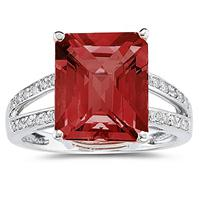 Emerald  Cut  Garnet and Diamond Ring 10k White Gold