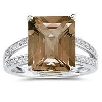 Emerald  Cut  Smokey Quartz  and Diamond Ring 10k White Gold