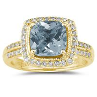 2.50ct  Cushion  Cut Aquamarine & Diamond Ring in 14K Yellow  Gold