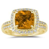 2.50ct  Cushion  Cut  Citrine & Diamond Ring in 14K Yellow  Gold