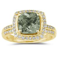 2.50ct Cushion  Cut Green Amethyst & Diamond Ring in 14K Yellow  Gold