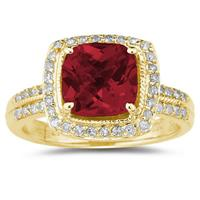 2.50ct  Cushion  Cut Garnet & Diamond Ring in 14K Yellow  Gold