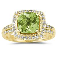 2.50ct  Cushion  Cut  Peridot & Diamond Ring in 14K Yellow  Gold