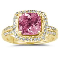 2.50ct  Cushion  Cut pink Topaz & Diamond Ring in 14K Yellow  Gold