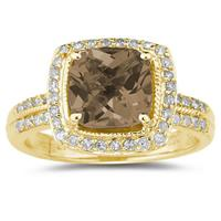 2.50ct  Cushion  Cut Smokey Quartz & Diamond Ring in 14K Yellow  Gold