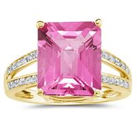 Emerald  Cut Pink  Topaz and Diamond Ring 10k Yellow  Gold