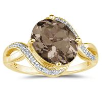 Oval Shaped   Smokey Quartz  and Diamond Curve Ring in 10K Yellow  Gold