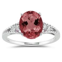 Oval Cut Garnet & Diamond Ring in White Gold