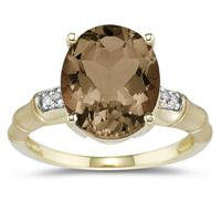 3.97 Carat  Smokey Quartz  and Diamond Ring in 14K Yellow Gold
