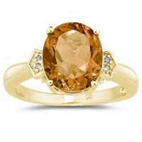4.50 Carat  Citrine & Diamond Ring in Yellow Gold