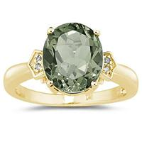4.50 Carat Green Amethyst  & Diamond Ring in Yellow Gold