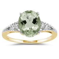 Oval Cut Green Amethyst & Diamond Ring in Yellow Gold