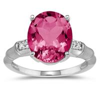 3.97 Carat Pink Topaz and Diamond Ring in 14K White Gold