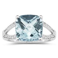 Cushion Cut  Aquamarine and Diamond Ring 10k White Gold