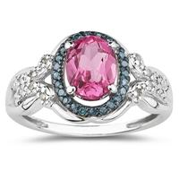 Pink Topaz and Blue and White Diamond Ring in 10K White Gold