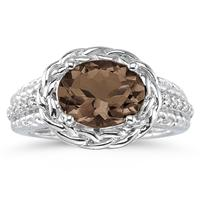 2.33 Carat Oval Shape Smokey Quartz and Diamond Ring in 10K White Gold