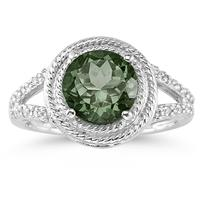 Green Amethyst and Diamond Ring in 10K White Gold