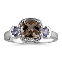 Cushion Cut Smokey Quartz & Tanzanite and Diamond White Gold Ring