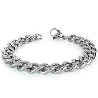 Stainless Steel Mens Curb Chain Bracelet 8.5 Inch