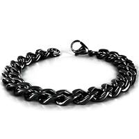 Stainless Steel Black Plated Mens Curb Chain Bracelet 8.5 Inch