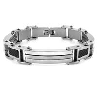 Stainless Steel with Carbon Fiber Link Bracelet