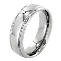 Polished Grooved Tungsten Carbide Ring (7mm)