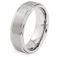 Brushed and Polished Ridged Edge Tungsten Carbide Ring (7mm)