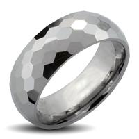 Tungsten Carbide Ring With Honey Comb Multi-Facelet Design