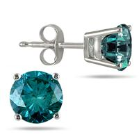 1.00 CTW Round Blue Diamond Solitaire Stud Earrings in 14K White Gold